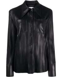 Nanushka Micro-pleated Shirt - Black