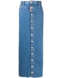 DSquared² High-rise Button-down Maxi Denim Skirt - Blue