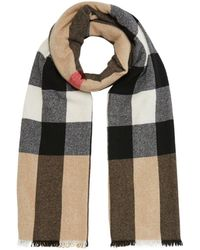 Burberry Fringed Check Wool Cashmere Scarf - Multicolour