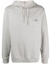 A.P.C. Logo-print Cotton Hoodie - Grey