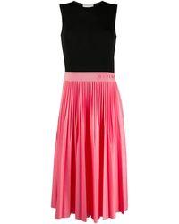 Givenchy Logo-waistband Pleated Midi-dress - Pink
