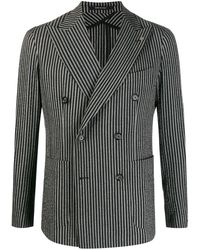 Tagliatore Striped Double-breasted Jacket - Black
