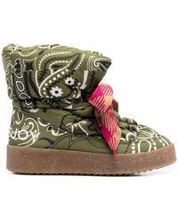 Khrisjoy Padded Bandana-print Boots - Green