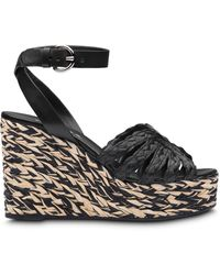 Prada Braided Wedge Sandals - Black
