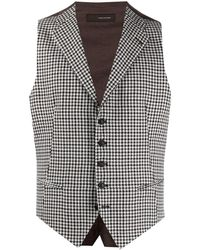 Tagliatore Houndstooth Waistcoat - White