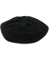 Saint Laurent Sequinned Studded Beret Hat - Black