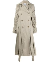 Ambush Ruched Double-breasted Trench Coat - Natural