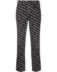 Alexander Wang Mid-rise Logo-print Flared Pants - Black