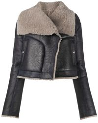 Rick Owens Shearling Trimmed Leather Jacket - Gray