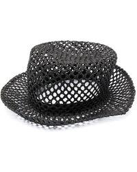 Fabiana Filippi Perforated Woven Hat - Black