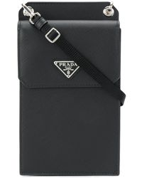 Prada Small Detachable Strap Leather Pouch - Black