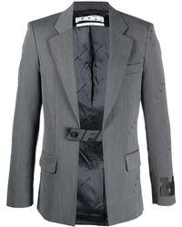 Off-White c/o Virgil Abloh Allover Logo Industrial Belt Blazer - Gray