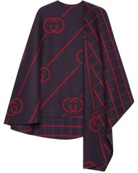 Gucci Reversible Wool And Silk-blend Cape - Blue