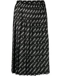 Vetements Logo-print Pleated Skirt - Black