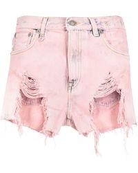 R13 Mid-rise Shredded Denim Shorts - Pink