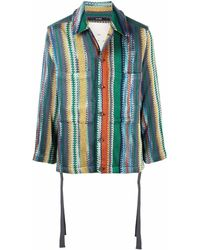 Song For The Mute Vertical-stripe Shirt Jacket - Green