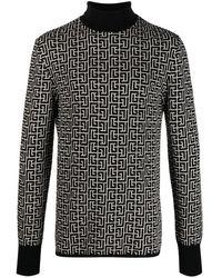 Balmain Monogram-motif Rollneck Sweater - Black