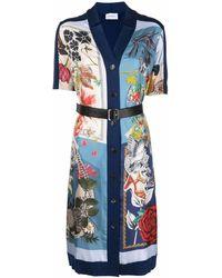 Ferragamo Printed Panel Inlay Midi Dress - Blue