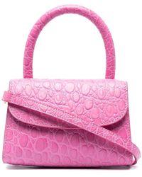 BY FAR Crocodile-embossed Mini Bag - Pink