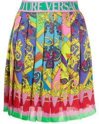 Versace Jeans Paisley Fantasy Print Pleated Mini Skirt - Pink