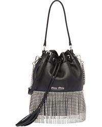 Miu Miu Starlight Bucket Bag Crystal Fringes - Black