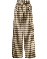 House Of Sunny Houndstooth Print Trousers - Brown
