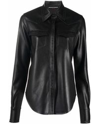 Ermanno Scervino Button-up Faux Leather Shirt - Black