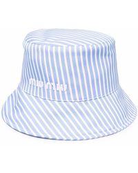 Miu Miu Embroidered-logo Hat - Blue