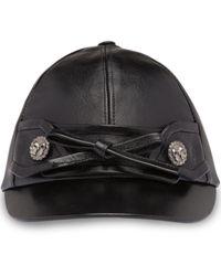 Miu Miu Bow Button Baseball Cap - Black