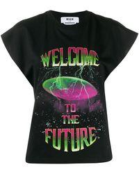 MSGM Graphic Print T-shirt - Black
