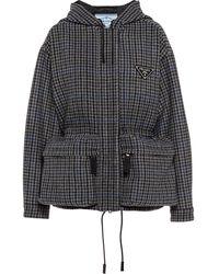 Prada Logo-plaque Houndstooth-pattern Coat - Black
