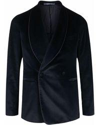 Tagliatore Velvet Tuxedo Jacket - Blue