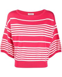 Bruno Manetti Stripe-print Wide-neck Knitted Top - Pink