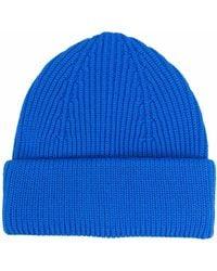 Roberto Collina Ribbed-knit Merino Wool Beanie - Blue