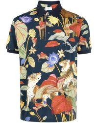 Etro Floral-print Polo Shirt - Blue