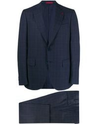 Isaia Check Two Piece Suit - Blue