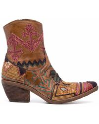 Fauzian Jeunesse Embroidered-design Ankle Boots - Brown