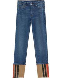 Burberry Turn-up Straight-leg Jeans - Blue