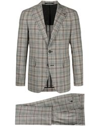 Tagliatore Plaid-check Pattern Suit - Grey
