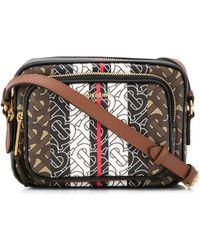Burberry Monogram Stripe Camera Bag - Brown