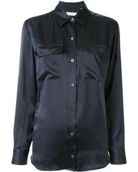 Equipment Signature Silk Satin Shirt - Blue