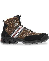 Burberry Monogram Stripe Tor Hiking Boots - Brown