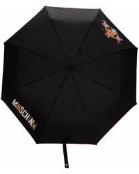 Moschino Teddy Bear Handle Printed Umbrella - Black