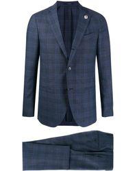 Lardini Check Patterned Fine Knit Suit - Blue