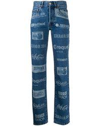 Vetements All-over Logo High-waist Jeans - Blue