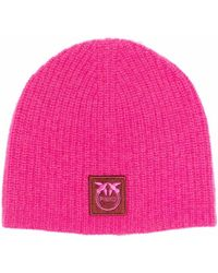 Pinko Logo-patch Knitted Beanie - Pink
