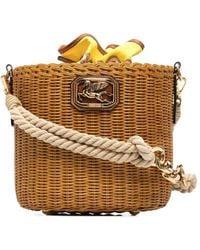 Etro Woven Wicker Bucket Bag - Brown