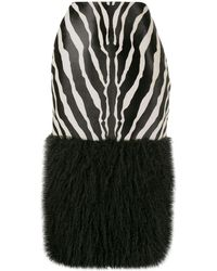 Saint Laurent Calf Hair And Faux Fur Skirt - Black