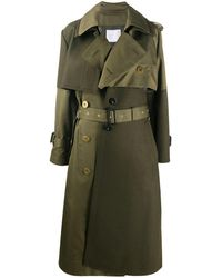 Sacai Patchwork Trench Coat - Green