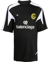 Balenciaga Logo Print Soccer T-shirt - Black